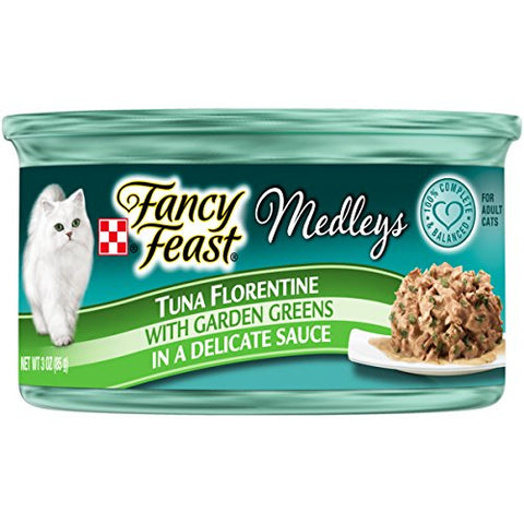 Purina Fancy Feast Medleys Tuna Florentine With Garden Greens In A Delicate Sauce Adult Wet Cat Food - (24) 3 Oz. Cans