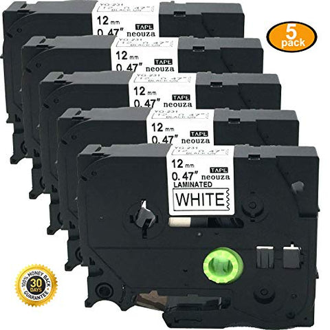 5Pk Great Quality Compatible For Brother P-Touch Laminated Tze Tz Label Tape Cartridge 12Mmx8M (Tze-231 Black On White)