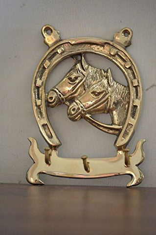 Cultural Hub  J92-100-0026 Lovely Ornate Brass Vintage Horseshoe Key Holder, Horseshoe Form Key Organiser, Brass Key Hanger With Two Horse Heads, Rustic Finish, Antique Look, Brass Home Dcor, Vintage Brass Key Hook