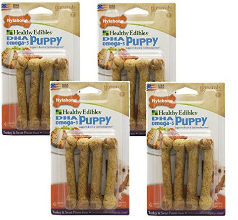 16 Count Nylabone Healthy Edibles Turkey And Sweet Potato Flavored Puppy Dog Treat Bones, Size Petite - (4 Packs With 4 Per Pack)
