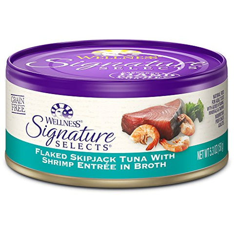 Wellness Signature Selects Natural Canned Grain Free Wet Cat Food, Flaked Tuna &Amp; Shrimp, 5.3-Ounce Can