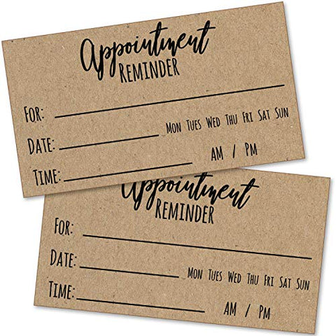 100 Appointment Reminder Cards - Kraft Style For Business, Hair Salon, Dental Office, Massage Therapist, Grooming, Hairdresser, Medical Doctors And More - Bulk Pack Of Your Next Appointment Cards