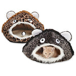 Meow Town Cat Caves Bed  -  Cozy And Comfortable Leopard-Print Hideaway Caves For Cats - 15 W X 11 H, Brown