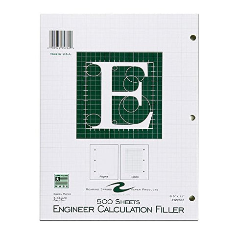 Roaring Spring Engineering Filler, 8.5  X 11 , Green, 500 Sheets