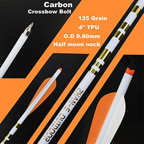 Carbon Crossbow Bolts Arrows with Half Moon Nock for Hunting Target Shooting