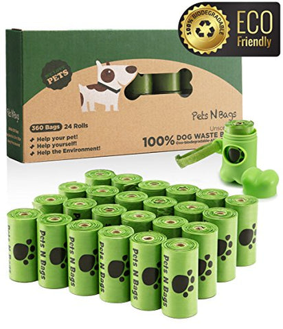 Dog Poop Bags, Pets N Bags, Dog Waste Bags, Biodegradable, Refill Rolls (24 Rolls / 360 Count, Unscented) Includes Dispenser
