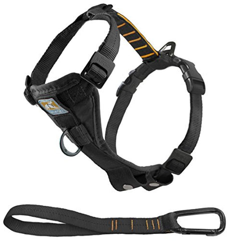 Tru-Fit Dog Harness, Dog Walking Harness, Includes No Pull Dog Harness Front Clip Feature For Training &Amp; Pet Seat Belt Tether For Car, Black, Small