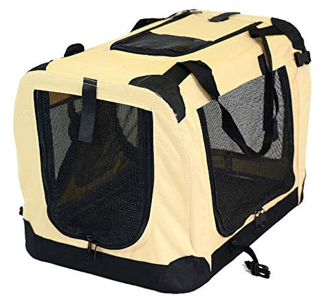 Toppets Portable Soft Pet Crate Or Kennel For Dog, Cat, Or Other Small Pets. Great For Indoor And Outdoor (Beige, Small: 19 X14 X14 )
