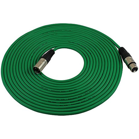 Gls Audio 25Ft Mic Cable Patch Cords - Xlr Male To Xlr Female Green Microphone Cables - 25' Balanced Mike Snake Cord - Green