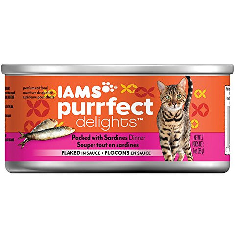 Iams Purrfect Delights Flaked Adult Wet Cat Food, Sardine, 3 Oz.