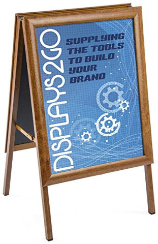 Displays2Go Sidewalk A-Frame Sign, Double Sided, 22 X 28 Inches, Non-Glare Lenses, Aluminum Wood Grain (Wdsnf28Af)