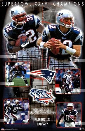 Buyartforless Exclusive New England Patriots Super Bowl 36 Xxxvi Composite Championship 34.5 X 22.5 Art Print Poster