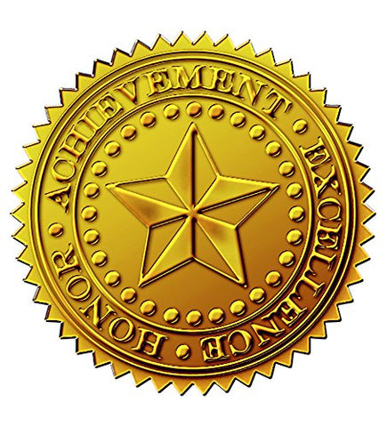 Great Papers! Starburst Embossed And Gold Foil Certificate Seal, 1.75 , 48 Count (903419)