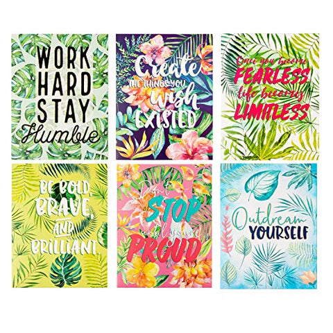 Two Pocket Folders Bulk  Letter Size File Folders, 6 Motivational Designs For Students, Tropical Palm Trees Print, School Folders With Pockets, 12 X 9.25 Inches