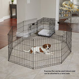 Midwest Foldable Metal Exercise Pen / Pet Playpen. Black W/ Door, 24 W X 30 H