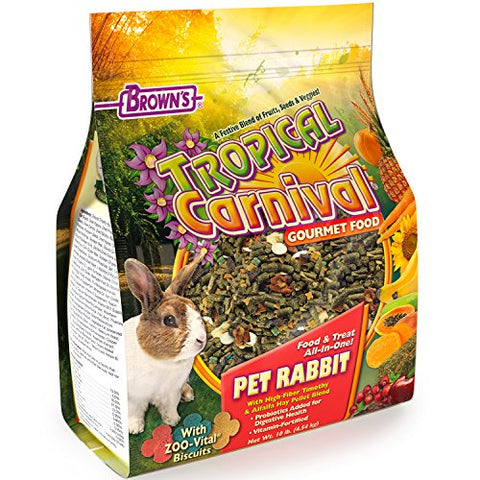 F.M. Brown'S Tropical Carnival Gourmet Pet Rabbit Food With High-Fiber Timothy And Alfalfa Hay Pellets - Probiotics For Digestive Health, Vitamin-Nutrient Fortified Daily Diet