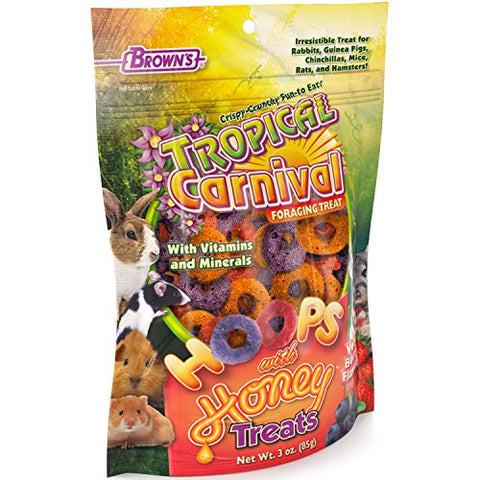 F.M. Brown'S Tropical Carnival Hoops Berry Flavored Treat With Honey, 3-Oz Bag - Vitamins And Minerals For Rabbits, Guinea Pigs, Chinchillas, Mice, Rats And Hamsters, Supports Healthy Teeth And Gums