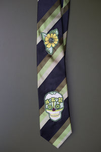 Striped silk tie in green and black