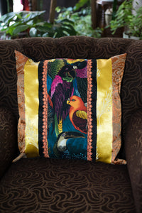 Tropical birds cushion in yellow