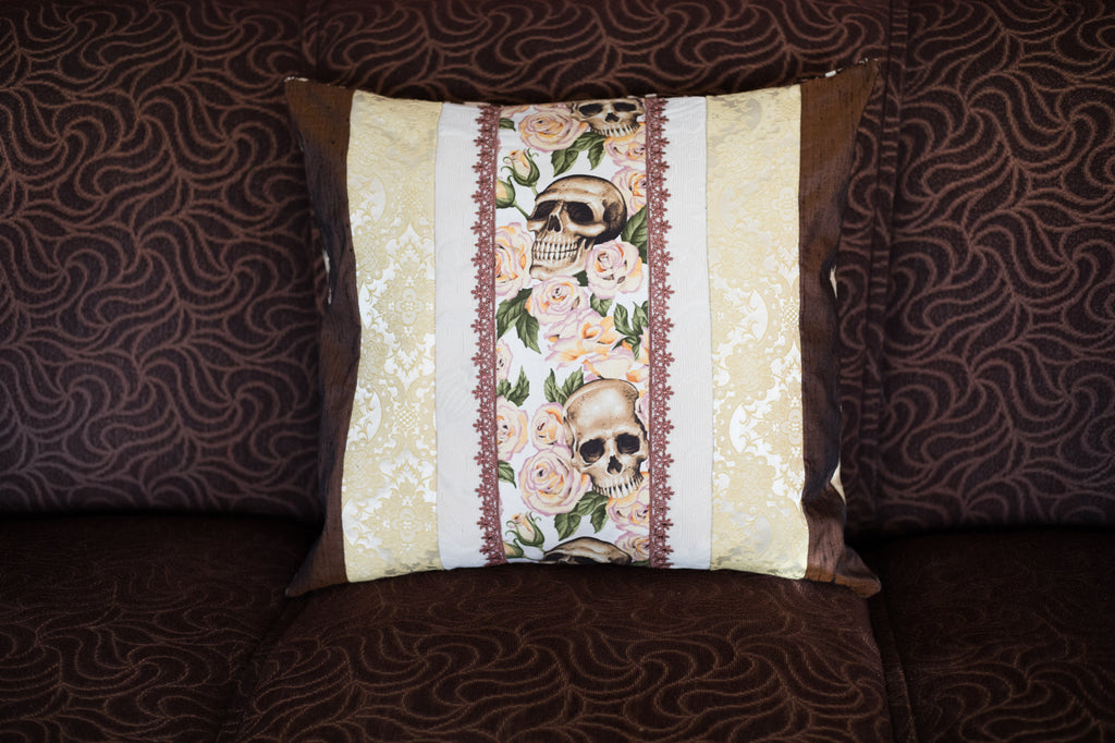 Romantic partly upcycled skull cushion