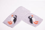 Puffin fingerless mittens