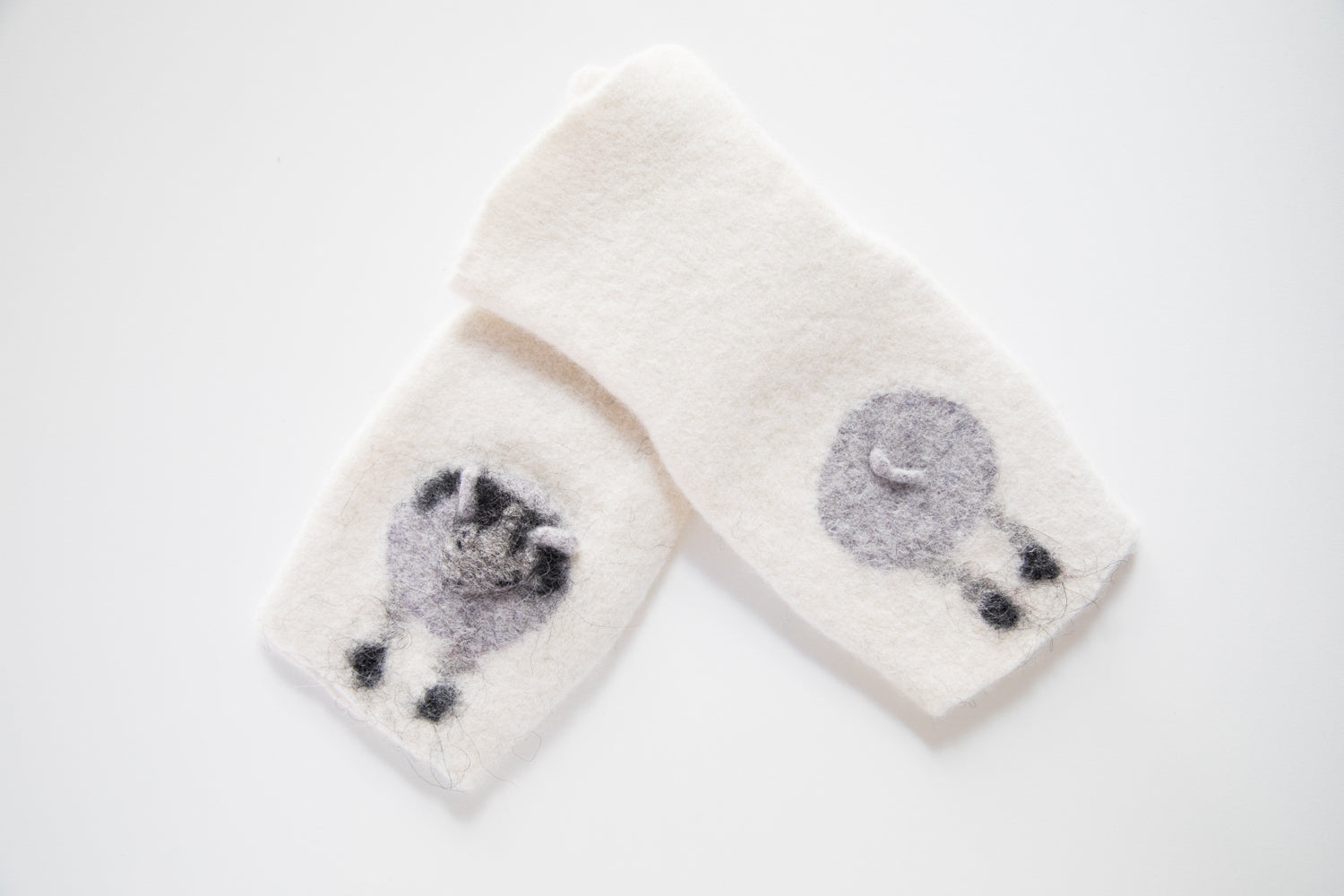 Sheep fingerless mittens