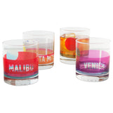 LA Beaches Glassware Set of 4: Santa Monica, Malibu, Venice, Zuma