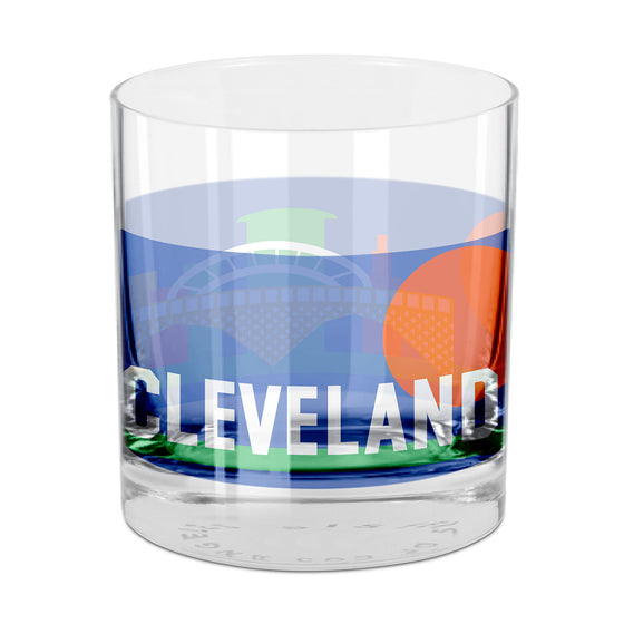 People, Places & Things Cleveland-inspired rocks glass