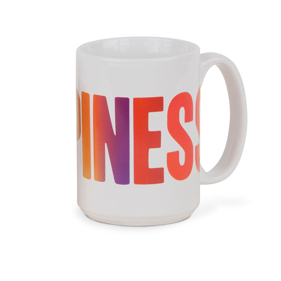 Large coffee mug with Happiness print - front