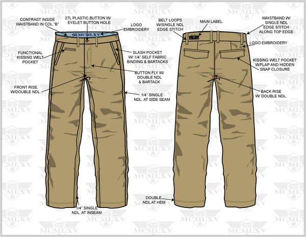 65 MCMLXV Chino Pant Technical Drawing
