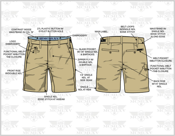 65 MCMLXV Men's Chino Short Technical Drawing