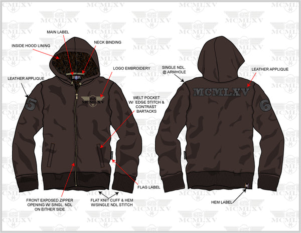 65 MCMLXV Men's Fleece Hoody Technical Detail