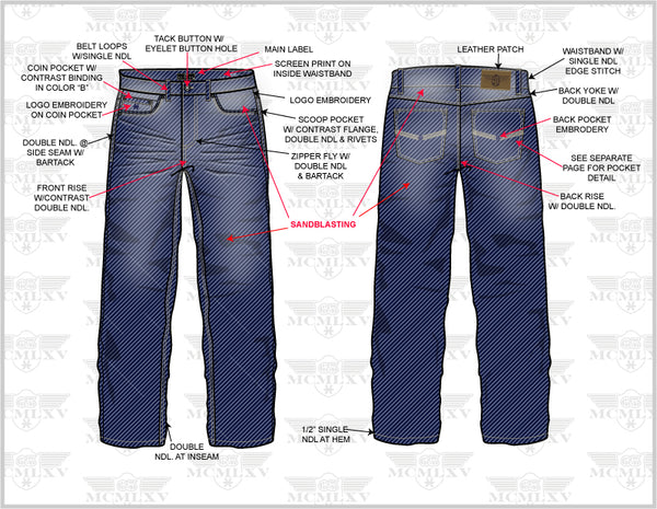 65 MCMLXV Men's Denim Jean Technical Drawing