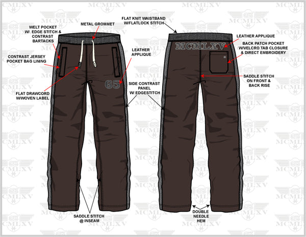 65 MCMLXV Men's Dress Sweat Pant Technical Drawing
