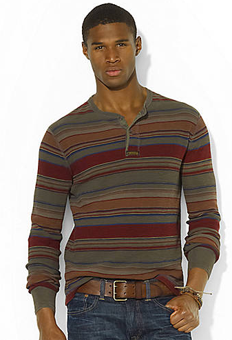 POLO RALPH LAUREN Long-Sleeved Striped Waffle-Knit Henley