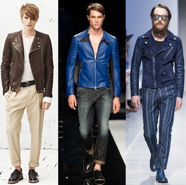 Biker looks from the Spring 2013 men's collections.