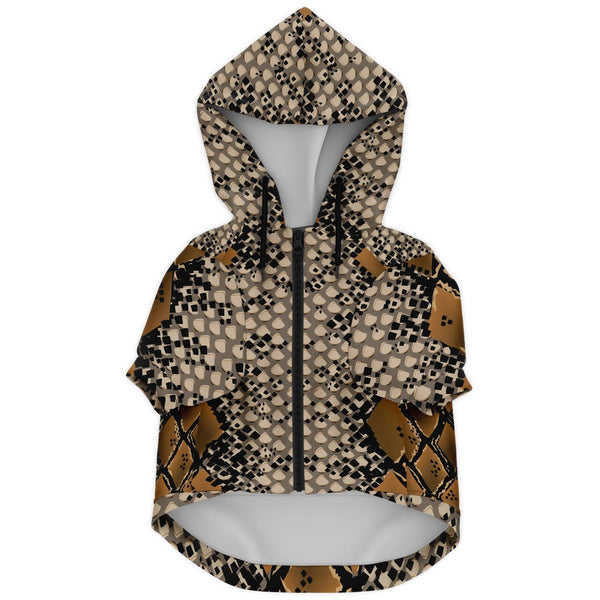 65 MCMLXV Snake Print Dog Zip Hoodie-Athletic Dog Zip-Up Hoodie - AOP-65mcmlxv