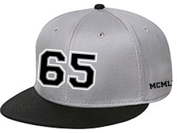 65 MCMLXV Varsity 65 Logo 6 Panel 3-D Puff Embroidered Cap-Cap-65mcmlxv