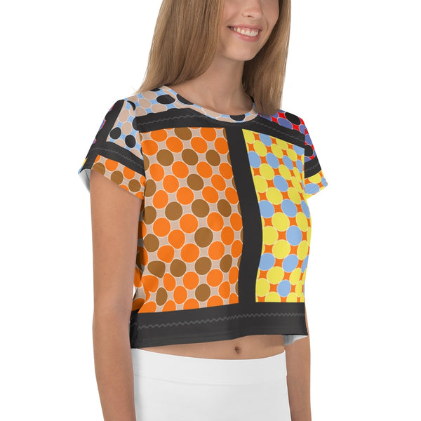 65 MCMLXV Women's Multi-Color Polka Dot Print Crop T-Shirt-Crop T-Shirt-65mcmlxv