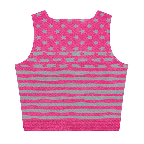 65 MCMLXV Women's Americana Pink USA Flag Crop Top-Crop Top-65mcmlxv