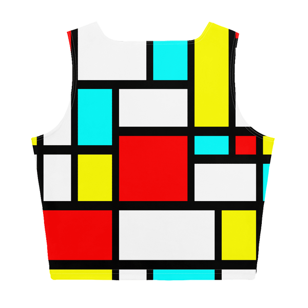 65 MCMLXV Women's Mondrian Print Color Block Crop Top-Crop Top-65mcmlxv
