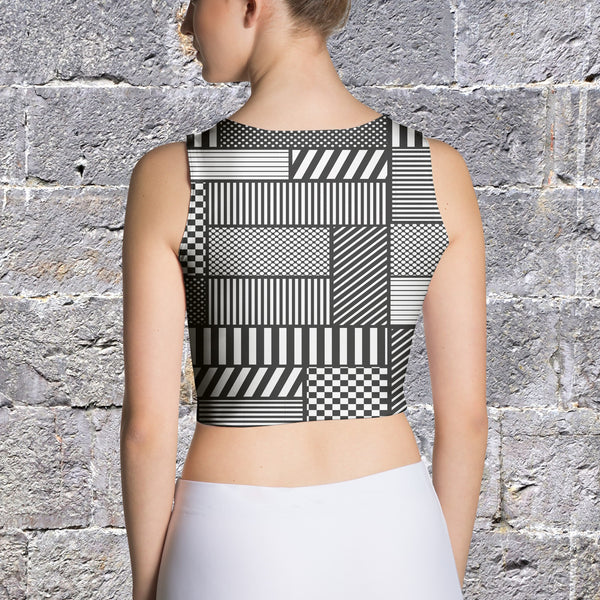 Crop Top - Women's Geometric Patchwork Crop Top