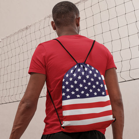 Drawstring Bag - 65 MCMLXV Americana USA Flag Print Drawstring Bag