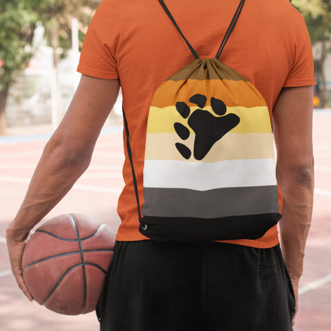 Drawstring Bag - 65 MCMLXV LGBT Bear Pride Flag Print Drawstring Bag