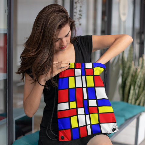Drawstring Bag - 65 MCMLXV Unisex Mondrian Color Block Print Drawstring Bag
