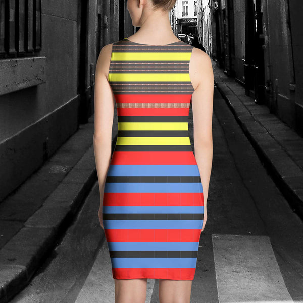 Dress - Women's Metallic Stripe Dress