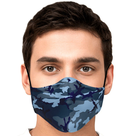 65 MCMLXV Blue Camouflage Unisex Face Mask-Fashion Face Mask - AOP-65mcmlxv