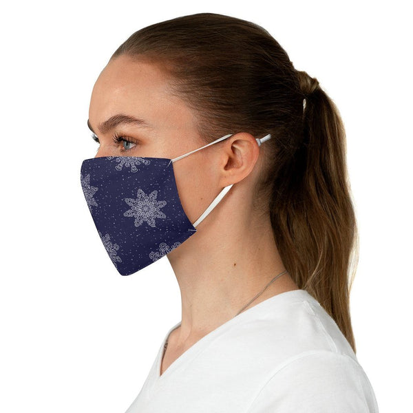 65 MCMLXV Unisex Navy Christmas Snowflakes Print Face Mask-Fashion Face Mask - AOP-65mcmlxv