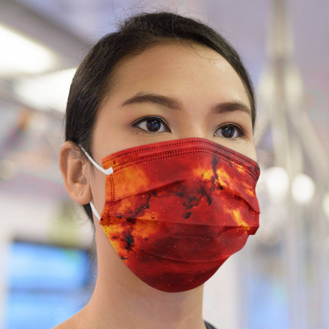 65 MCMLXV Unisex Red Space Nebula Print Face Mask-Fashion Face Mask - AOP-65mcmlxv