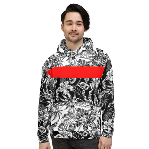 65 MCMLXV Men's Positive/Negative Tropical Floral Print Fleece Hoodie-Hoody-65mcmlxv